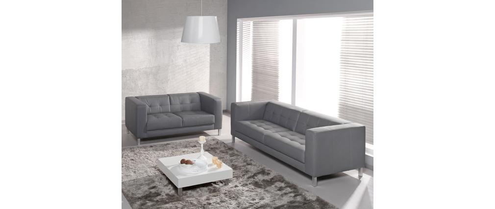 Canapé design 2 places gris LINCOLN