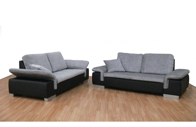 Canapé design 2 places gris noir SCALA Miliboo