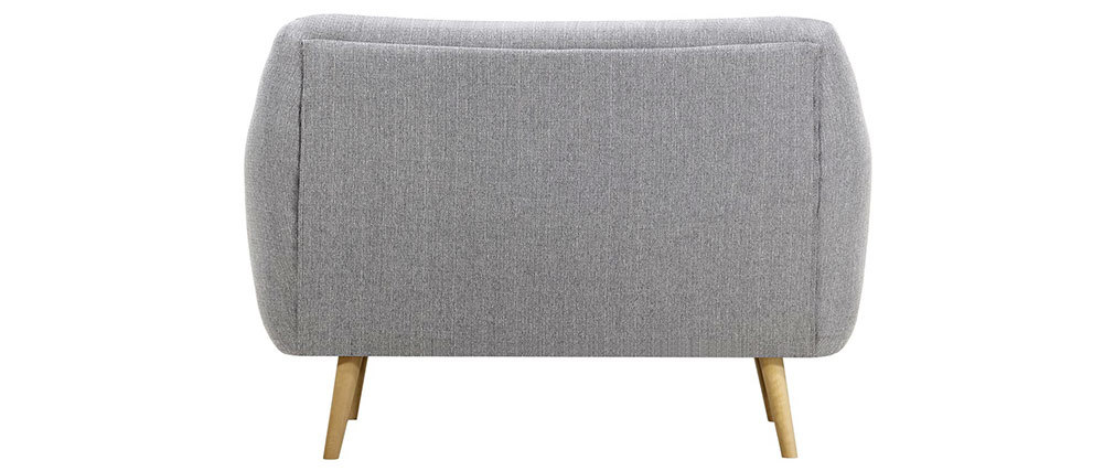 Canapé design 2 places gris perle pieds bois clair OLAF