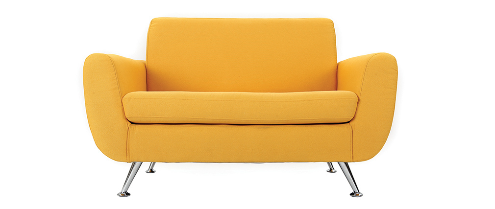 Canap design 2 places jaune pure miliboo - Canape 2 places design ...