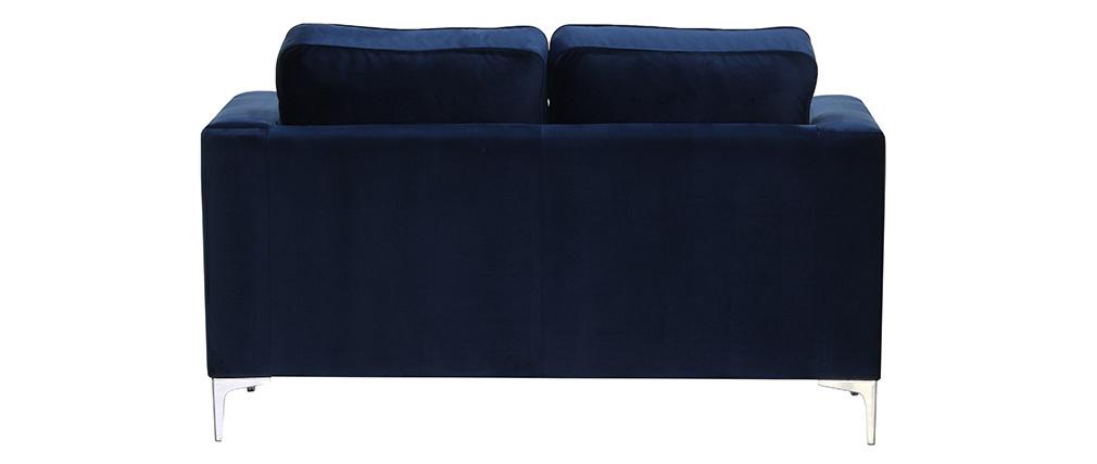 Canapé design 2 places velours bleu nuit HARRY