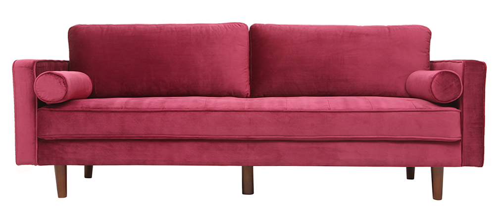 Canapé design 3-4 places velours burgundy IMPERIAL