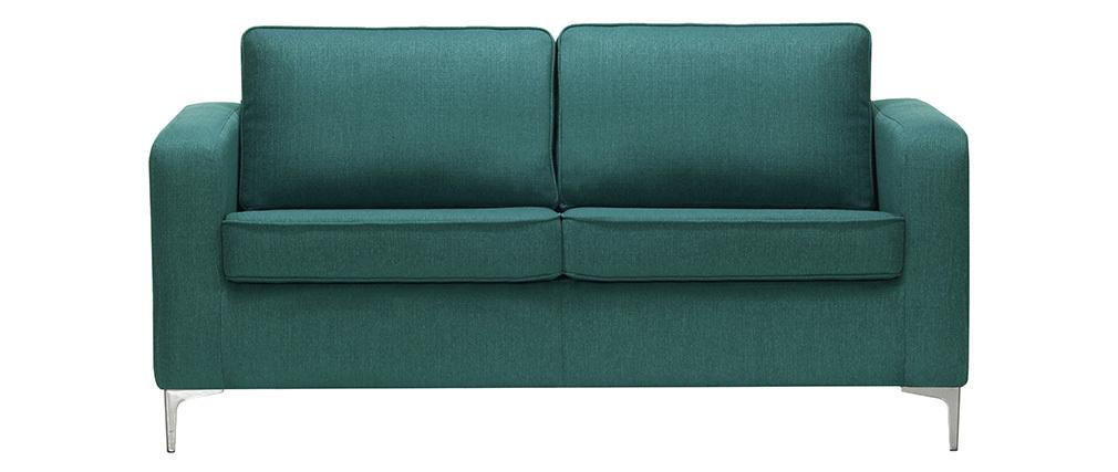 Canapé design 3 places bleu canard HARRY