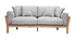 Canapé design 3 places déhoussable gris clair et bois KYO