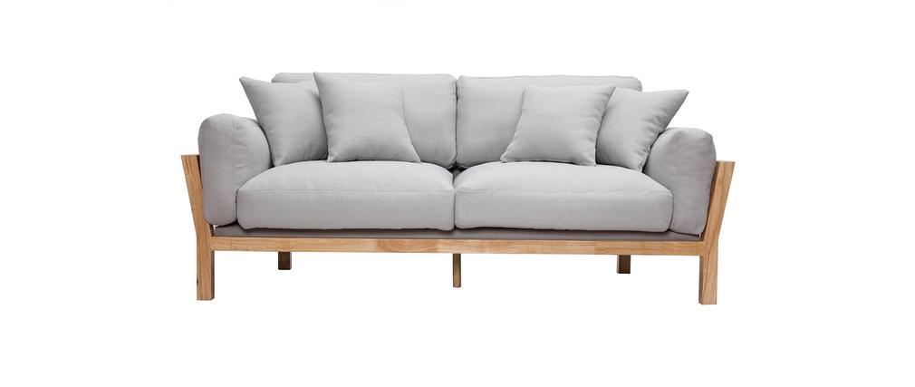 Canapé design 3 places déhoussable gris clair pieds bois KYO