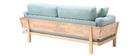 Canapé design 3 places déhoussable menthe à l'eau et bois KYO