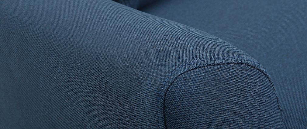 Canapé design 3 places en tissu bleu et pieds noyer EKTOR
