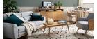 Canapé design 3 places en tissu gris clair et pieds chêne EKTOR