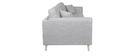 Canapé design 3 places en tissu gris clair VOGUE