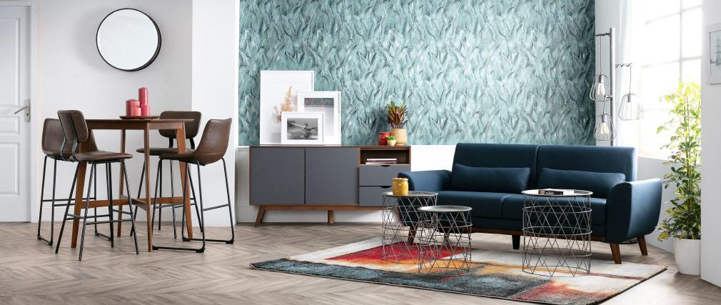 Canapé design 3 places en tissu naturel et pieds chêne EKTOR
