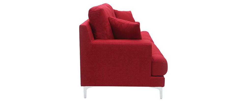 Canapé design 3 places en tissu rouge BOMEN