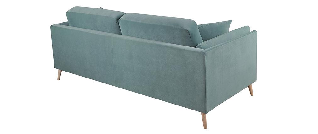 Canapé design 3 places en velours bleu glacier VOGUE