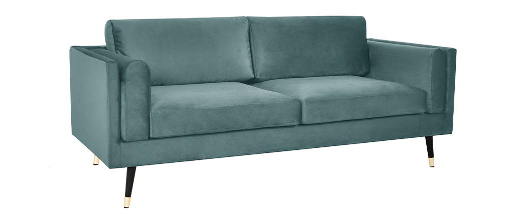 Canapé design 3 places en velours vert de gris STING