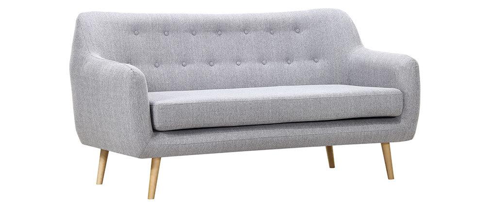 Canapé design 3 places hêtre et tissu gris perle OLAF