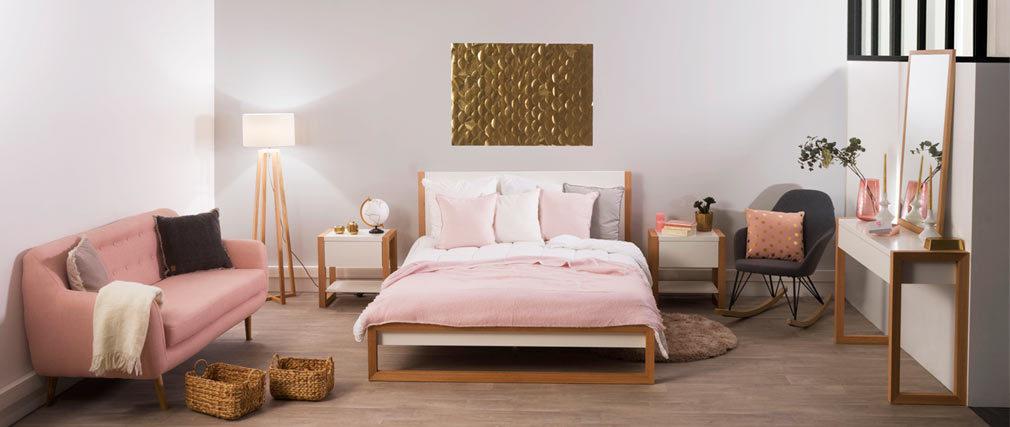 Canapé design 3 places hêtre et tissu vieux rose OLAF