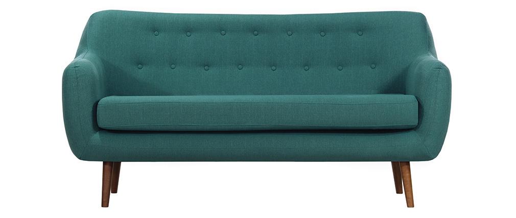 Canapé design 3 places tissu bleu canard pieds noyer OLAF ...