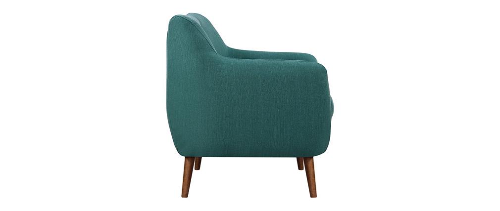 Canapé design 3 places tissu bleu canard pieds noyer OLAF