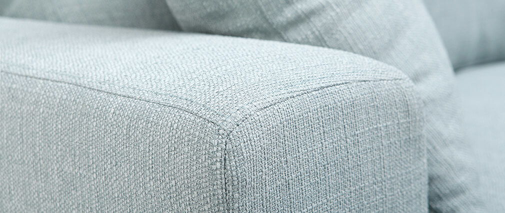 Canapé design 3 places tissu bleu clair BOMEN