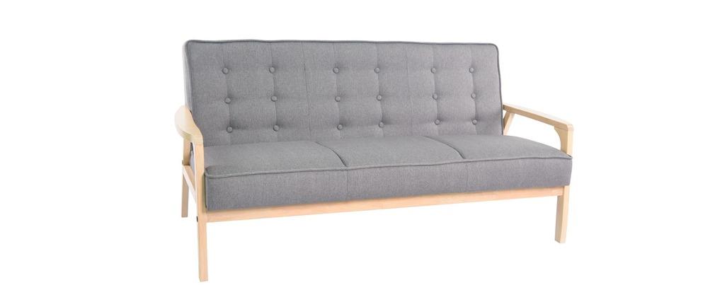 Canap design 3 places tissu et bois teodor miliboo for Canape bois et tissu
