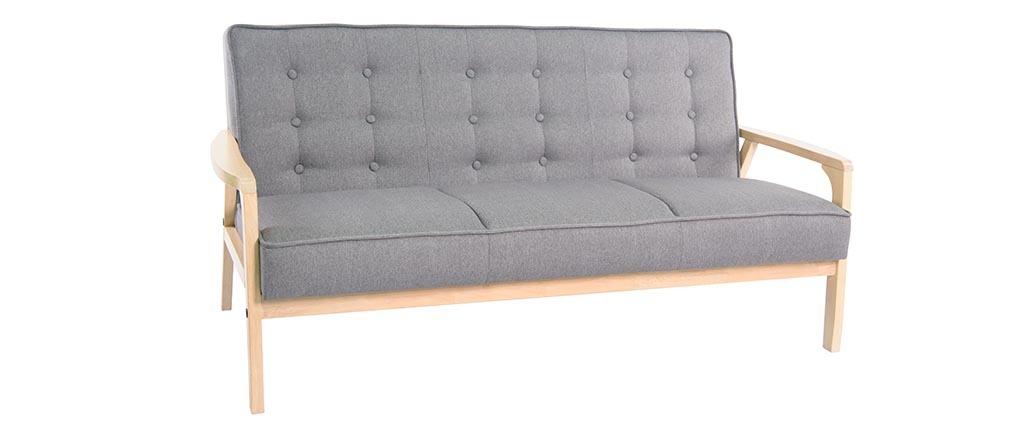 Canap design 3 places tissu et bois teodor miliboo for Canape en bois et tissu