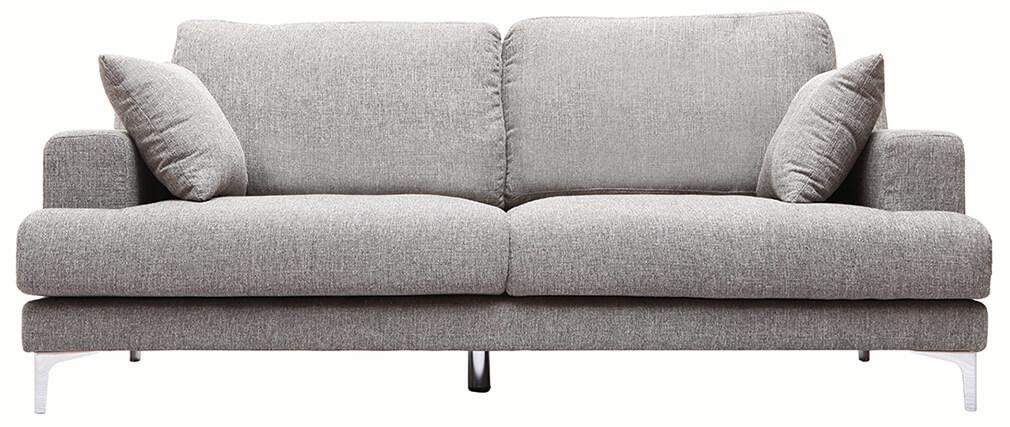 Canapé design 3 places tissu gris clair BOMEN