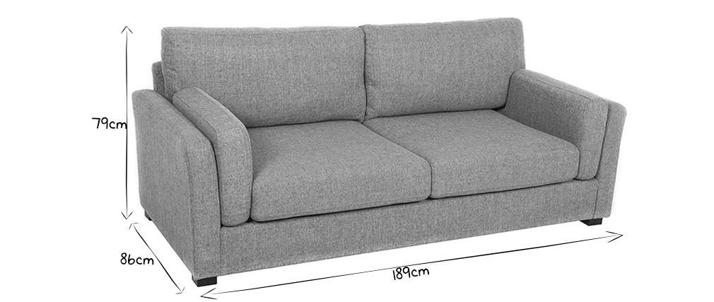 Canapé design 3 places tissu gris clair MILORD