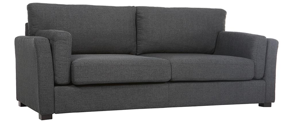 Canapé design 3 places tissu gris foncé MILORD