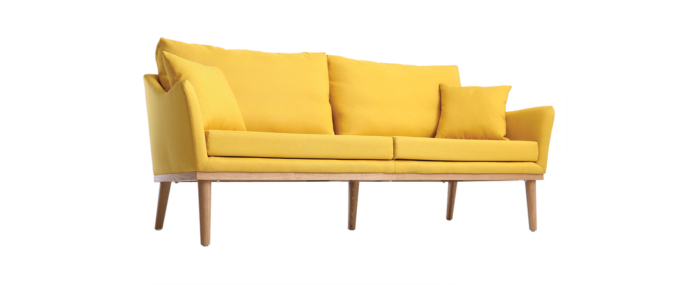 canap design 3 places tissu jaune et fr ne nori miliboo. Black Bedroom Furniture Sets. Home Design Ideas