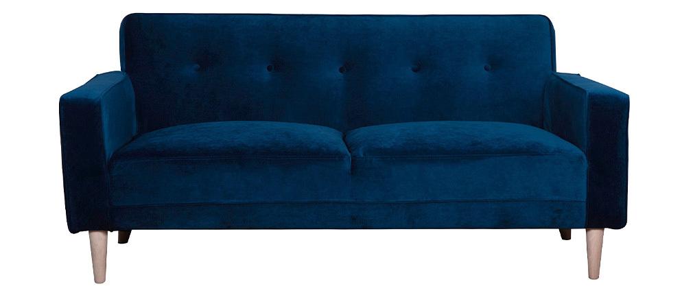 Canapé design 3 places velours bleu nuit CIGALE