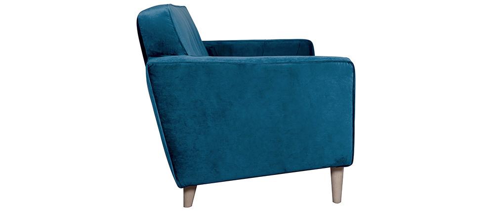 Canapé design 3 places velours bleu paon CIGALE