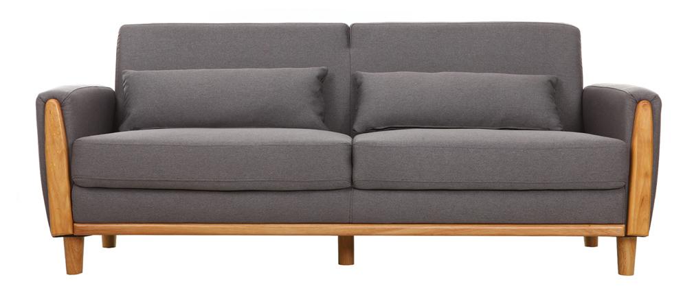 Canap design bois et tissu gris 3 places norway miliboo for Canape bois et tissu