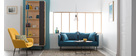 Canapé design contemporain 3 places bleu canard MATHIS