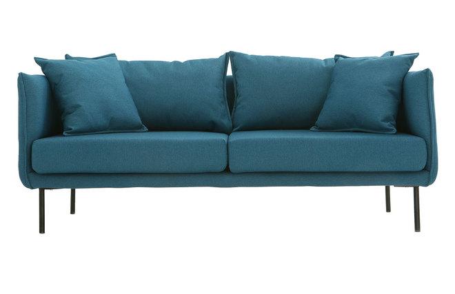 Canapé design contemporain 3 places bleu canard MATHIS - Miliboo