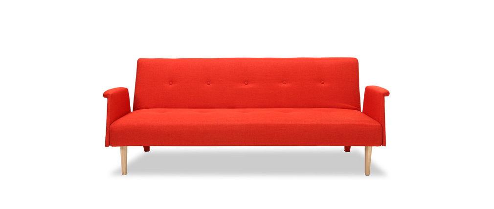 Canap design convertible rouge orang oscar miliboo - Canape convertible orange ...