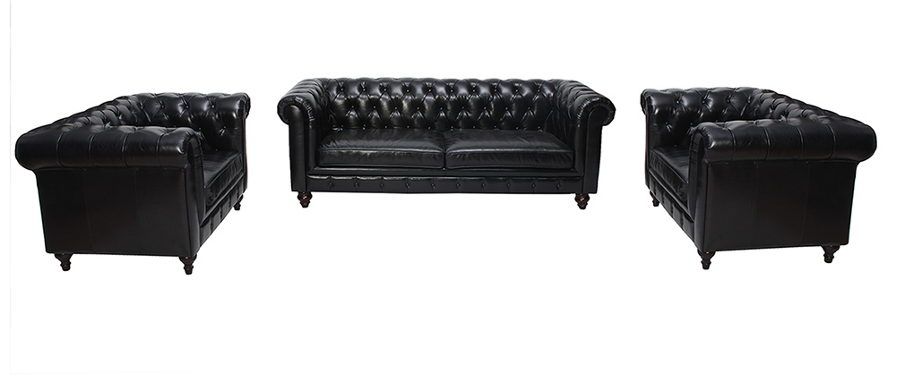 Canapé design cuir noir 3 places CHESTERFIELD - cuir de buffle