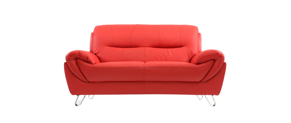 Canapé design cuir rouge 2 places KANSAS Miliboo