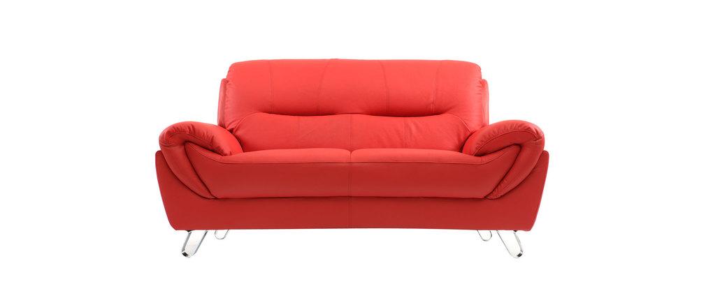 canap design cuir rouge 2 places kansas cuir de. Black Bedroom Furniture Sets. Home Design Ideas