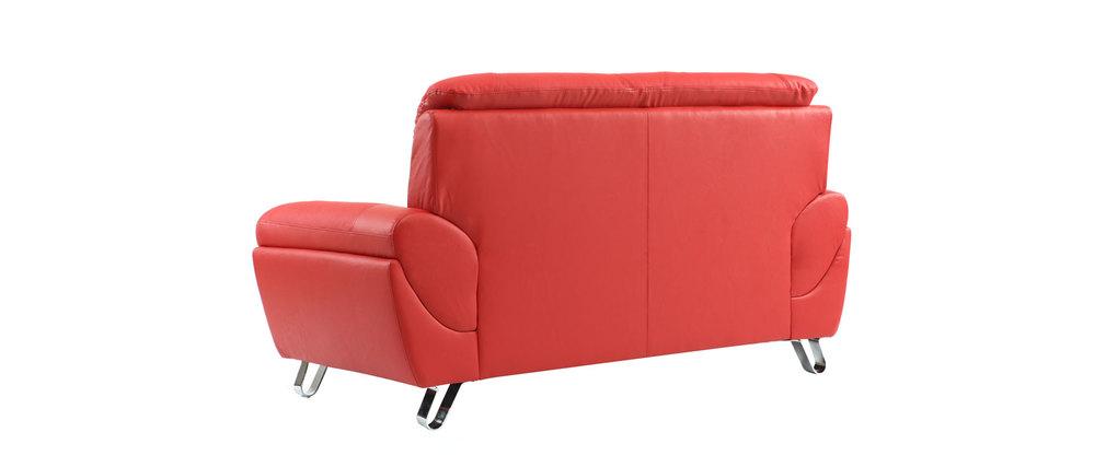 canap design cuir rouge 2 places kansas cuir de vachette miliboo. Black Bedroom Furniture Sets. Home Design Ideas