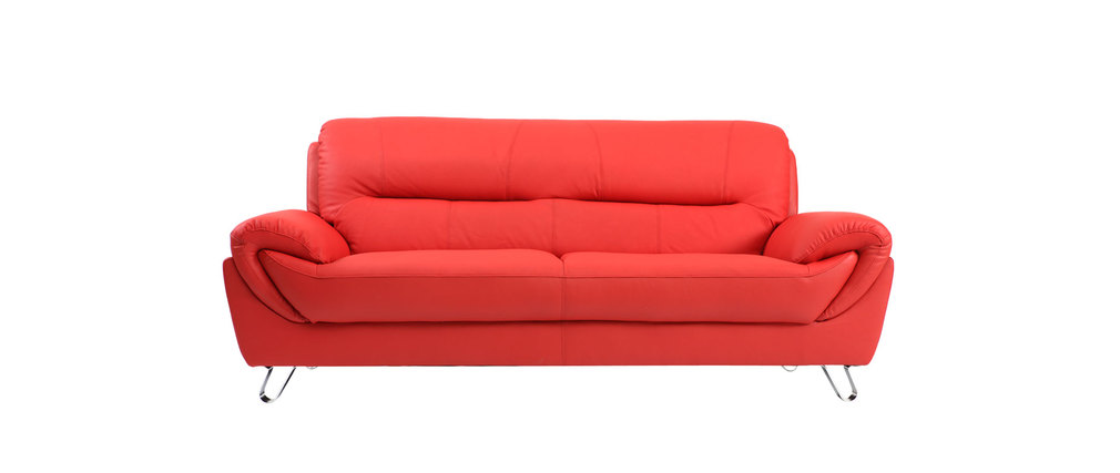 Canap design cuir rouge 3 places kansas miliboo for Canape cuir rouge