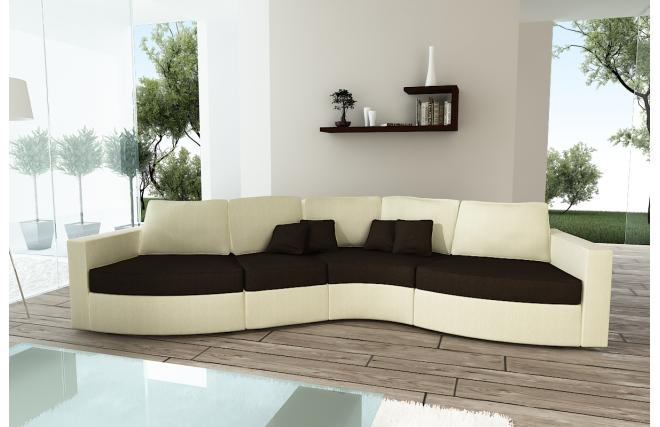 canap design en courbe 4 5 places lin cr me et chocolat. Black Bedroom Furniture Sets. Home Design Ideas