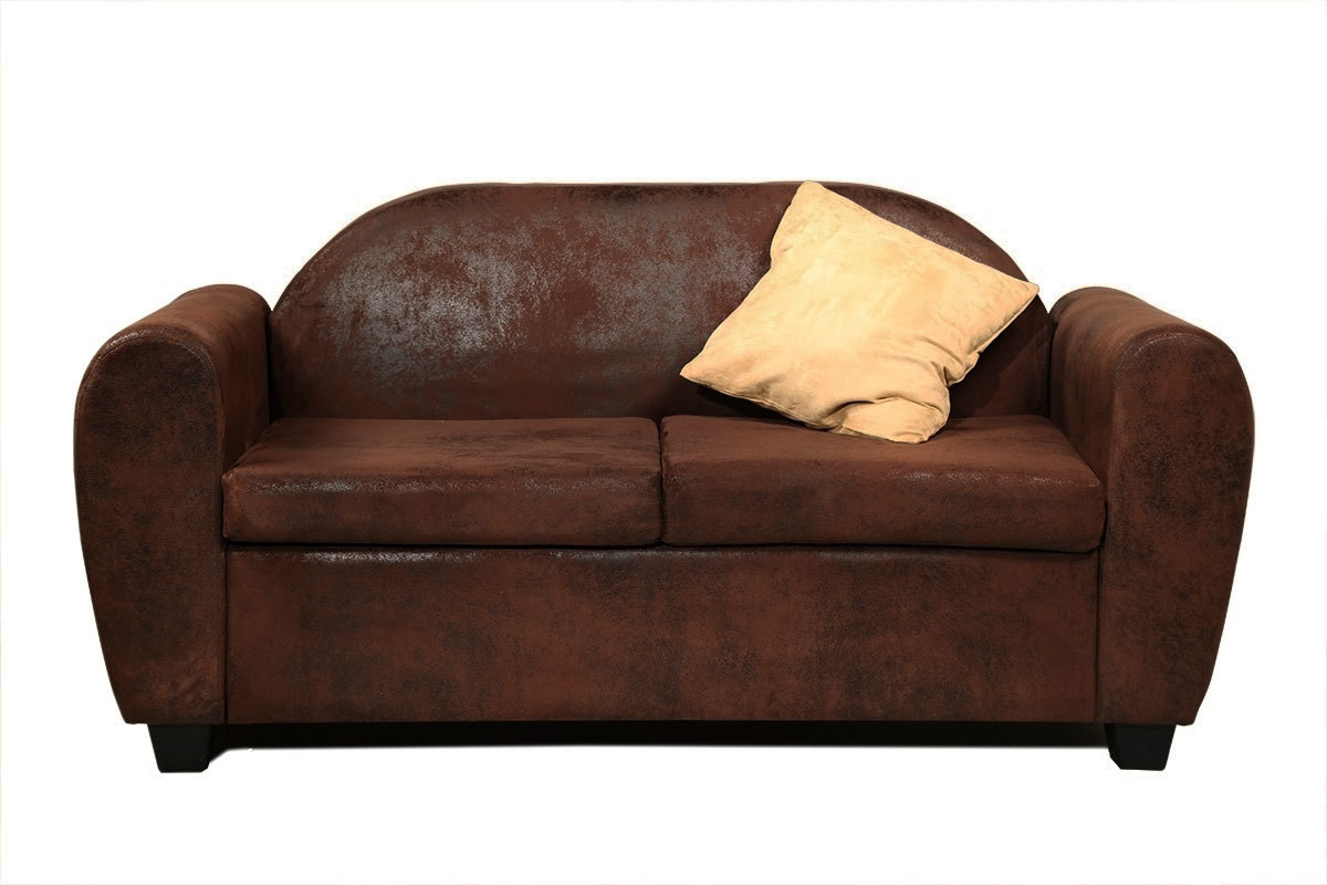 canap design fixe 2 3 places effet cuir vieilli marron paulo miliboo. Black Bedroom Furniture Sets. Home Design Ideas