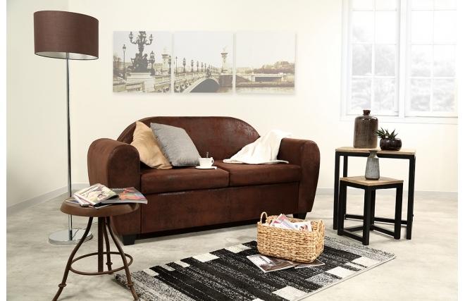 canap design fixe 2 3 places effet cuir vieilli marron. Black Bedroom Furniture Sets. Home Design Ideas