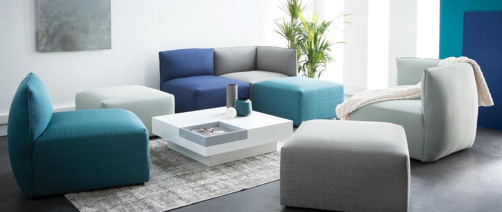 Canapé design modulable bleu foncé 2 places MODULO