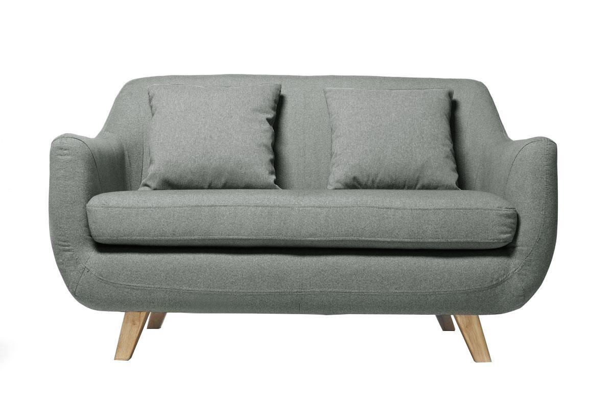 Canape design scandinave 2 places gris SKANDI