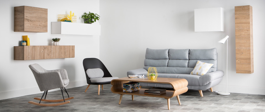 Canapé design scandinave 3 places gris NORDIK