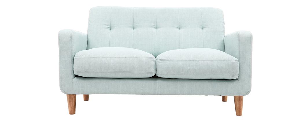 Canapé design scandinave tissu bleu lagon 2 places LUNA