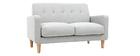 Canapé design scandinave tissu gris clair 2 places LUNA