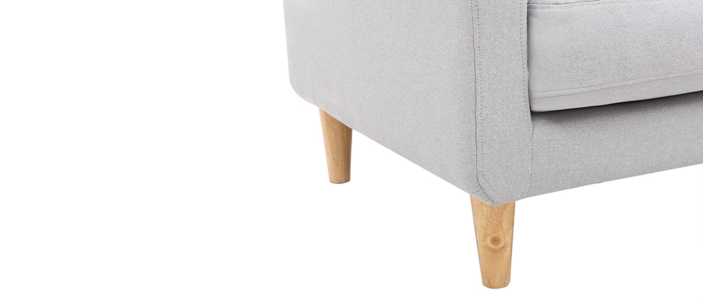 Canapé design scandinave tissu gris clair 3 places LUNA