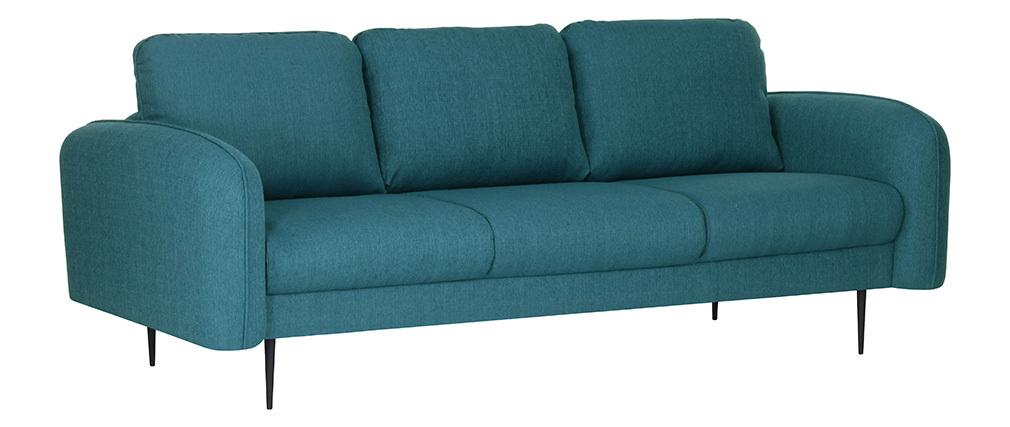 Canapé design tissu bleu canard 3 places SIDI