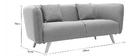 Canapé design tissu gris clair 3 places MOONLIGHT